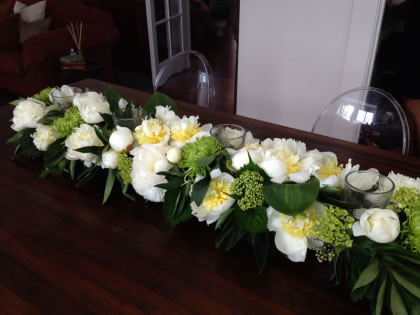 Running the table: This gorgeous blend of whites and greens – I'm very partial to whites and greens